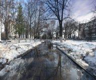 Parque de la ciudad de la primavera del paisaje Imagen de archivo libre de regalías