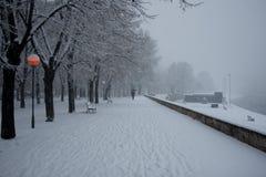 Parque de la ciudad de Skopje en la nieve Imagenes de archivo