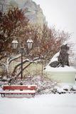 Parque de la ciudad del invierno en nieve Fotos de archivo libres de regalías