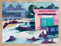 Parque de la ciudad, dibujo de la acuarela foto de archivo