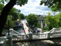 Parque de la ciudad en Kamenetz-Podolsk en Ucrania occidental foto de archivo libre de regalías
