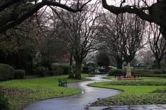 Parque de la ciudad de Selby después de la lluvia en el medio de enero Fotografía de archivo libre de regalías