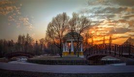 Parque de la primavera en la puesta del sol Fotos de archivo
