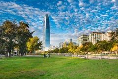 Parque de las Esculturas. Santiago, Region Metropolitana, Chile - May 14, 2017: View of the modern skyline of buildings at Providencia district from Parque de Stock Image