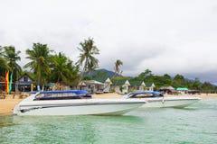 Parque de los barcos de la velocidad en la playa Foto de archivo libre de regalías