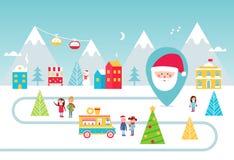 Parque de los días de fiesta de la Navidad Comida de la calle y ejemplo de las actividades del invierno Diseño del vector Imagen de archivo