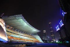 Parque de los Juegos Asiáticos de Haixinsha en la noche imagen de archivo
