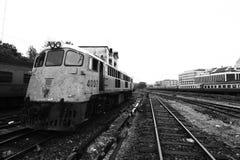 Parque de los trenes en el depósito Foto de archivo libre de regalías