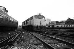 Parque de los trenes en el depósito Fotografía de archivo libre de regalías