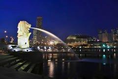 Parque de Merlion. Horizonte de Singapur Fotografía de archivo
