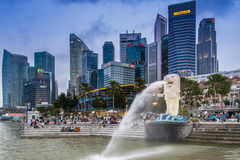 Parque de Merlion, Singapur imagenes de archivo