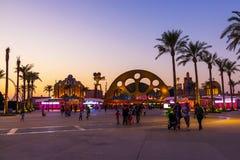 Parque de Motiongate de la entrada en los parques y los centros turísticos de Dubai Tubo principal imagen de archivo libre de regalías