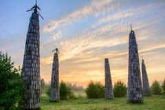 Parque de Nikola Lenivets National, região de Kaluga, Rússia imagens de stock royalty free