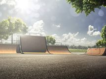 Parque de patinagem vazio no dia ensolarado Imagem de Stock Royalty Free