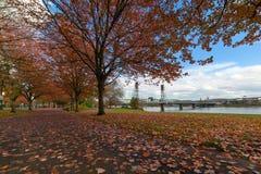 Parque de Portland Oregon Waterfron no outono Imagem de Stock