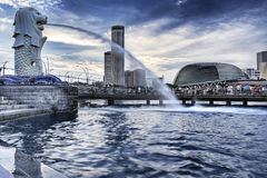 Parque de Singapur Merlion, bahía de desatención del puerto deportivo Fotos de archivo
