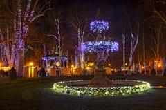Parque de Zrinjevac adornado por las luces de la Navidad como parte del advenimiento i Foto de archivo libre de regalías