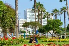 Parque del爱阿莫尔或公园在米拉弗洛雷斯区 拥抱的一对未认出的年轻夫妇 库存照片