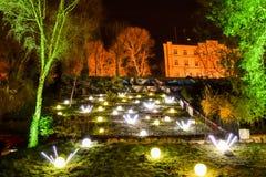 Parque del arte en Zagreb, Croacia durante el festival de luces imágenes de archivo libres de regalías