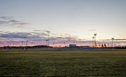 Parque del béisbol en el amanecer fotografía de archivo libre de regalías
