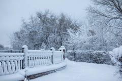 Parque del invierno con un encintado cubierto con nieve Fotos de archivo