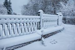 Parque del invierno con un encintado cubierto con nieve Imagenes de archivo