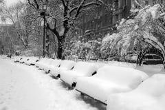 Parque del invierno de la ciudad Foto de archivo