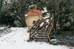 Parque del invierno en Topolcianky Imagenes de archivo