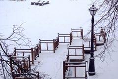Parque del invierno Escaleras nevadas que van abajo linterna del vintage en el lado imagen de archivo libre de regalías