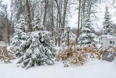 Parque del invierno, mansión Fotos de archivo