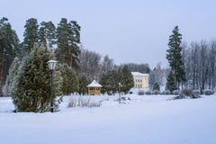 Parque del invierno, mansión Imagen de archivo libre de regalías