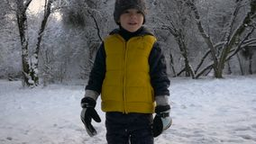 Parque del invierno que un muchacho corre más cerca almacen de metraje de vídeo