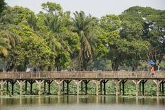 PARQUE DEL LAGO DE ASIA MYANMAR RANGÚN KANDAWGYI Imagen de archivo