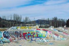 Parque del monopatín con las paredes de la pintada Fotografía de archivo libre de regalías