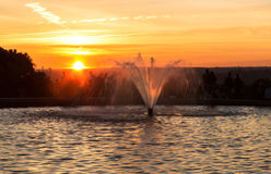 Parque del Oeste at sunset, Madrid, Spain. Fountain in Parque del Oeste at sunset in Madrid, Spain Stock Photography