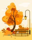 Parque del otoño con un banco y un tragaluz, hojas que caen y un libro con café caliente en un banco en estilo de la historieta c stock de ilustración