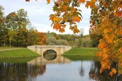 Parque del otoño, Gatchina, St Petersburg, Rusia Foto de archivo libre de regalías