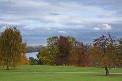 Parque del otoño sobre el río Fotos de archivo libres de regalías