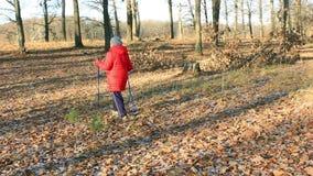 Parque del otoño Una más vieja mujer contratada a caminar nórdico metrajes