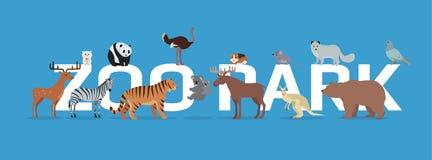 Parque del parque zoológico con la bandera de los animales aislada stock de ilustración