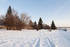 Parque del río en invierno Imagenes de archivo