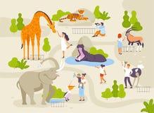 Parque del parque zoológico con los animales divertidos y la gente que obran recíprocamente con ellos ejemplos planos del vector  stock de ilustración