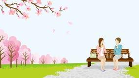 Parque do almoço de duas mulheres na primavera - EPS10 ilustração do vetor
