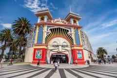 Parque do amuzement de Luna Park em Melbourne, Austrália fotografia de stock