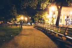 Parque do círculo de Du Pont na noite, em Washington, C.C. foto de stock