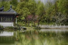 Parque do chinês tradicional com lago Foto de Stock