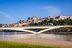 The university town Coimbra, Portugal. From the Parque do Choupalinho view on Coimbra with the oldest university of Portugal on the top of the mountain Mondego Royalty Free Stock Photo