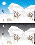 Parque do inverno na noite e no dia Imagem de Stock Royalty Free