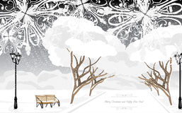 Parque do inverno no tempo da noite Cartão de Natal Fotos de Stock