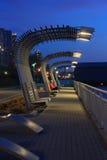 Parque do Rio Hudson em Manhattan, New York City na noite imagem de stock